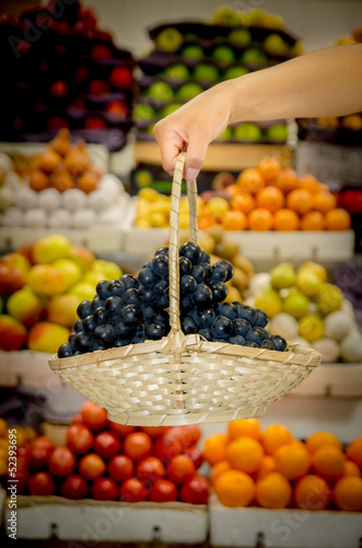Basket of grapes in the market