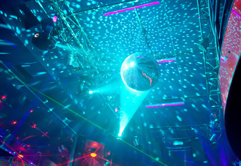 Mirror ball in a nightclub