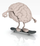 human brain with arms and legs on skateboard