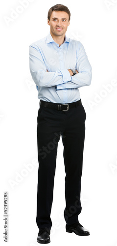 Smiling businessman, over white