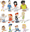 Group Of Cute Happy Cartoon Pe...