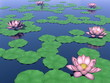 Lotus flowers and leaves on water - 3D render