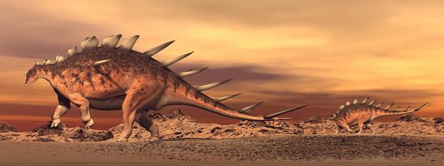Kentrosaurus dinosaurs mum and baby - 3D render
