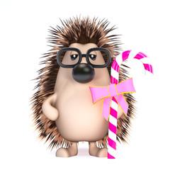 Cute hedgehog has some candy