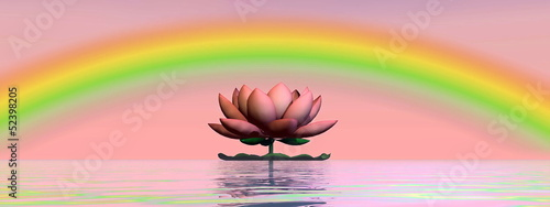 Lotus flower under rainbow - 3D render