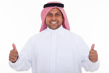 happy arabian man giving thumbs up