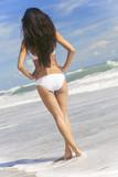 Sexy Woman Girl White Bikini on Beach