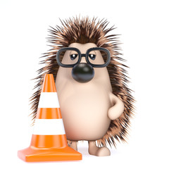 Cute hedgehog stops the traffic