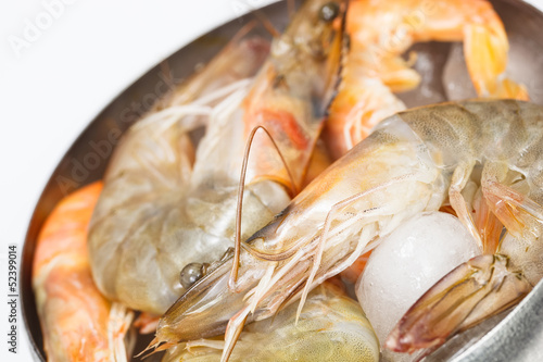 Shrimps or Prawns in bowl  on ice