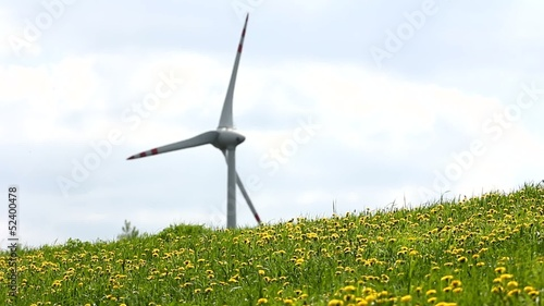 wind turbine on sunny and windy day