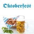 canvas print picture - Oktoberfest beer and pretzels