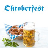 Oktoberfest beer and pretzels