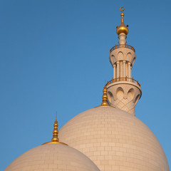 Two Domes and One Minaret of Abu Dhabi Sheikh Zayed Mosque