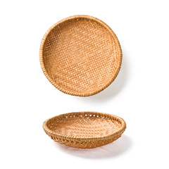 two wicker plates
