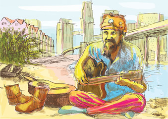 The bearded hippie man playing the guitar (drawing into vector)