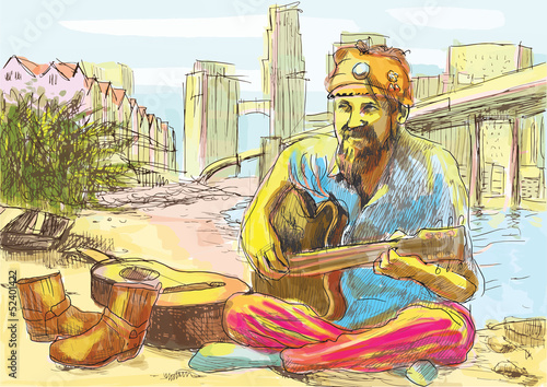 The bearded hippie man playing the guitar (drawing into vector) - 52401422