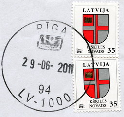 "Canveled latvian stamps ""Ikskile"""
