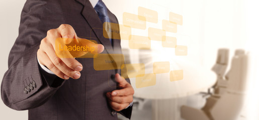 businessman pointing to leadership skill concept on virtual scre