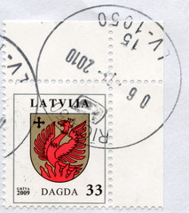 "Canceled latvian stamp ""Dagda"""