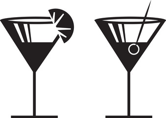 Margarita or Martini silhouettes with garnish