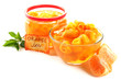 Orange jam with zest and tangerines, isolated on white