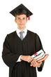 Young graduation man holding diploma and books, isolated