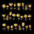 Golden flowers set for your design