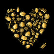 Golden heart with flowers for your design