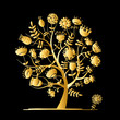 Golden tree with flowers for your design