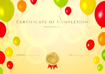 Certificate / Diploma template. Background for children