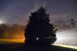 Eery nighttime landscape in countryside