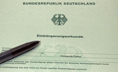 Einbürgerung Urkunde Deutsch