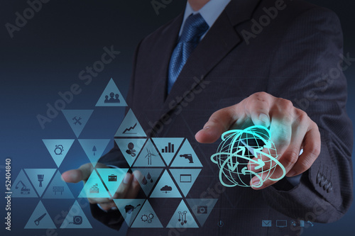 Businessman hand working with virtual interface show globalizati