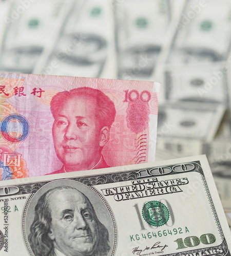 Chinese yuan note and US dollar note