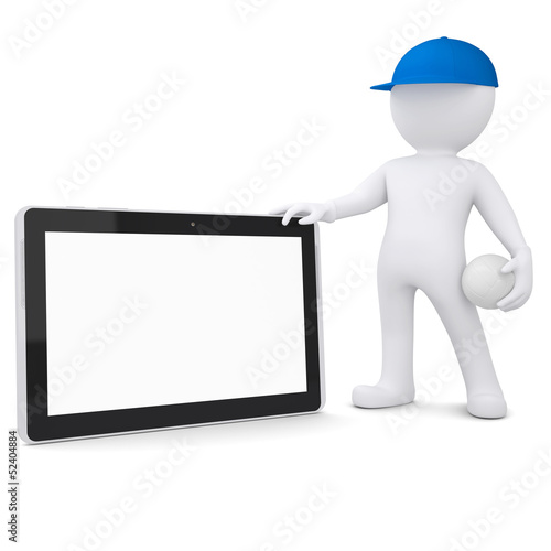 3d man with volleyball ball holding tablet pc