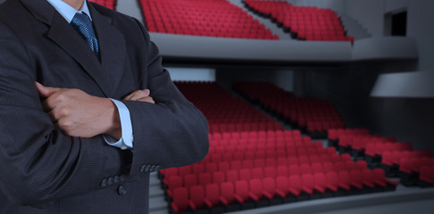 smart businessman as theater manager