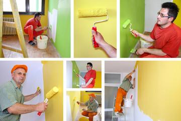 Painting walls, interior decoration - collage