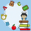 Education and school icon set. Space for text. Boy and books