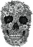 Flower Skull Vector - 52406054