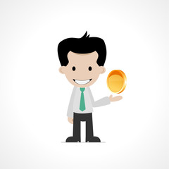 cartoon office worker with coin