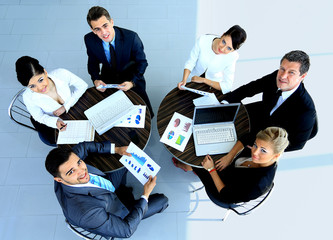 Top view of working business group