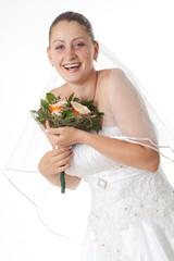 Bride holding boquet