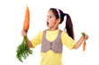 Amazed girl with two carrots