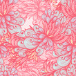 Seamless retro pink pattern with abstract nature elements