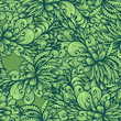 Seamless monochrome hand drawn pattern with green leaves