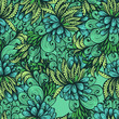Seamless green hand drawn background with expressive leaves