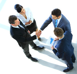 Top view of a successful business deal at office