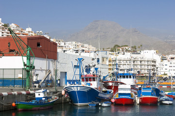 Fishing harbor of Los Cristianos. Canary Island Tenerife, Spain