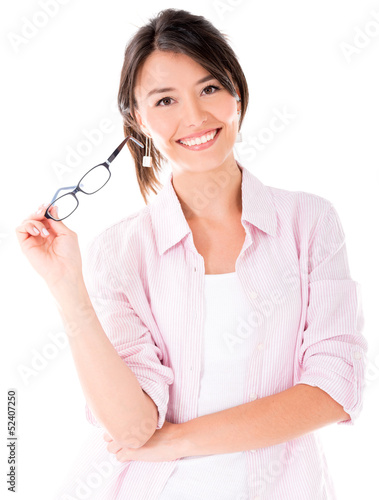 Casual woman holding glasses