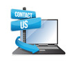 contact us sign and laptop